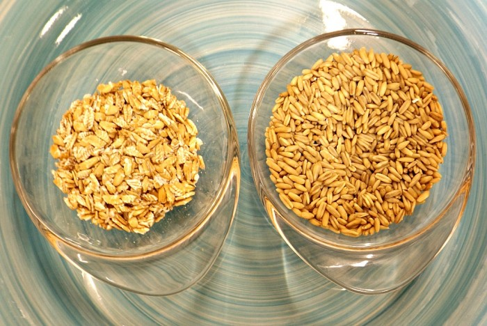 L: Fresh Rolled Oats - R: Oat Groats