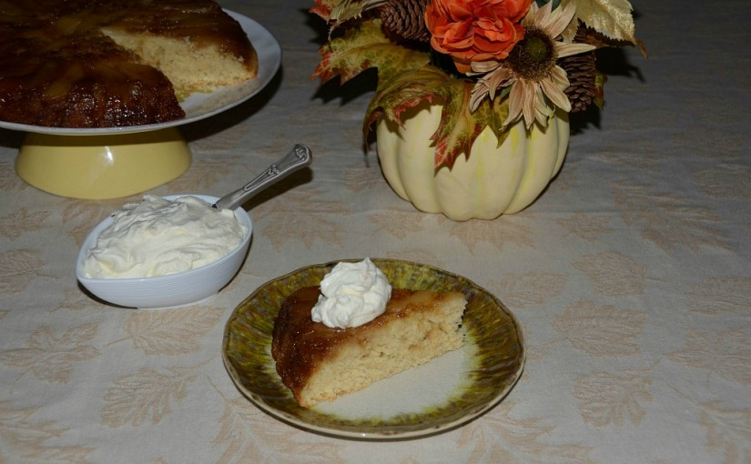 Thanksgiving Series: Pear Upside Down Cake with Mascarpone Whipped Cream