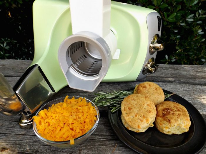With the help of the Vegetable Cutter Attachment, Cheese biscuits are super easy!