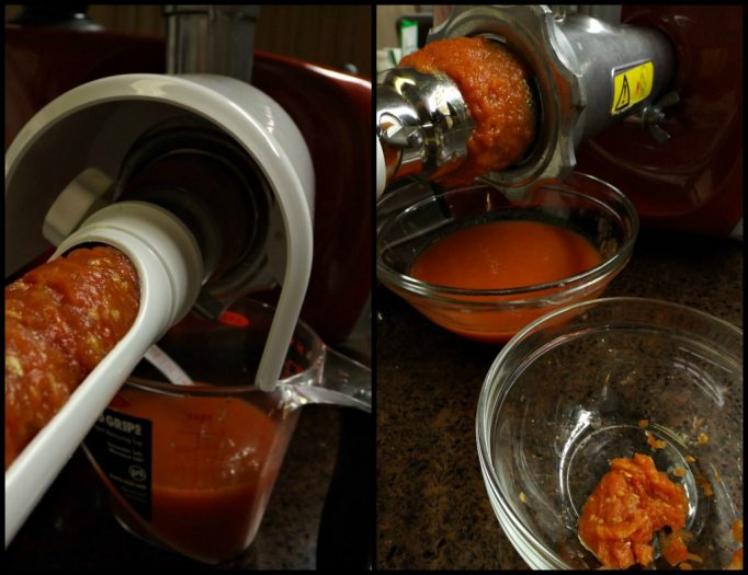 Be sure to run your tomato pulp back through the strainer a couple of times to make sure you get every bit of juice.