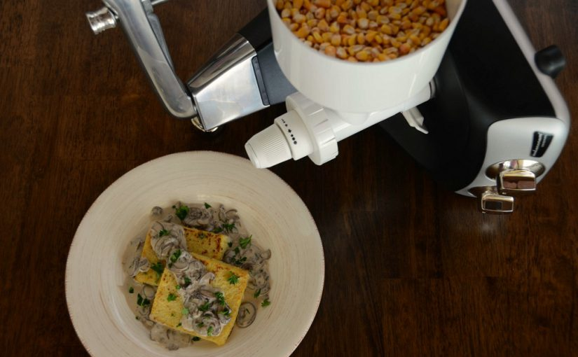 Pan-Fried Polenta with Mushroom Sauce