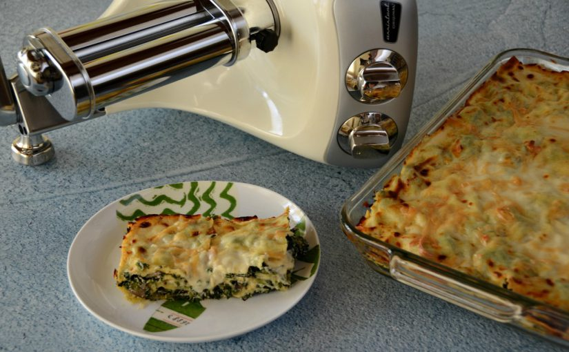Four Cheese Spinach and Mushroom Lasagna
