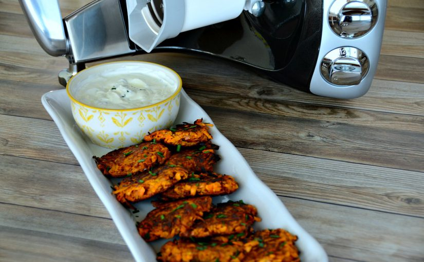 Sweet Potato Cakes with Lime Chive Sour Cream