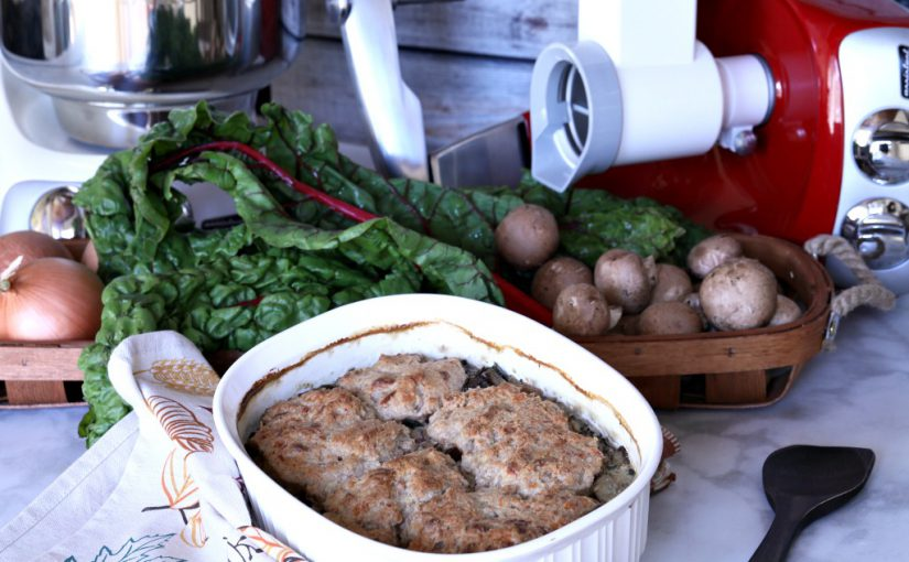 Savory Mushroom, Greens and Caramelized Onion Cobbler