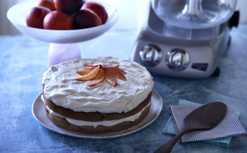 Brown Butter Nectarine Cake with Bourbon Whipped Cream Frosting