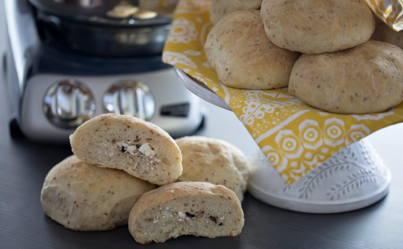 Toasted Sesame Seed Buns with Feta and Olives